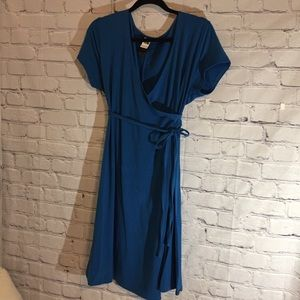 The North Face blue knit wrap dress Sz Lg